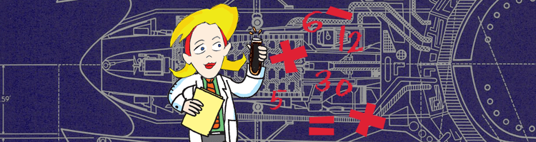 script cartoon gal in labcoat with blueprint
