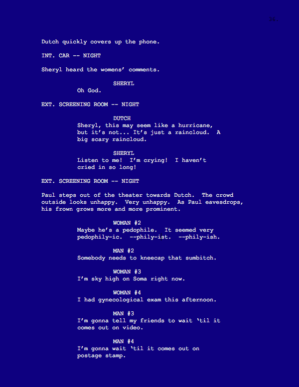 screenshot of script with blue background and white text