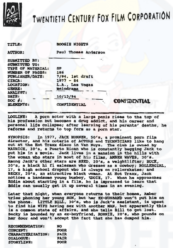 script coverage template read the script coverage for boogie nights