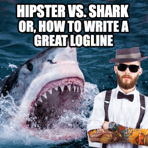 A great white shark with mouth open next to a hipster with sunglasses and dressed fancy
