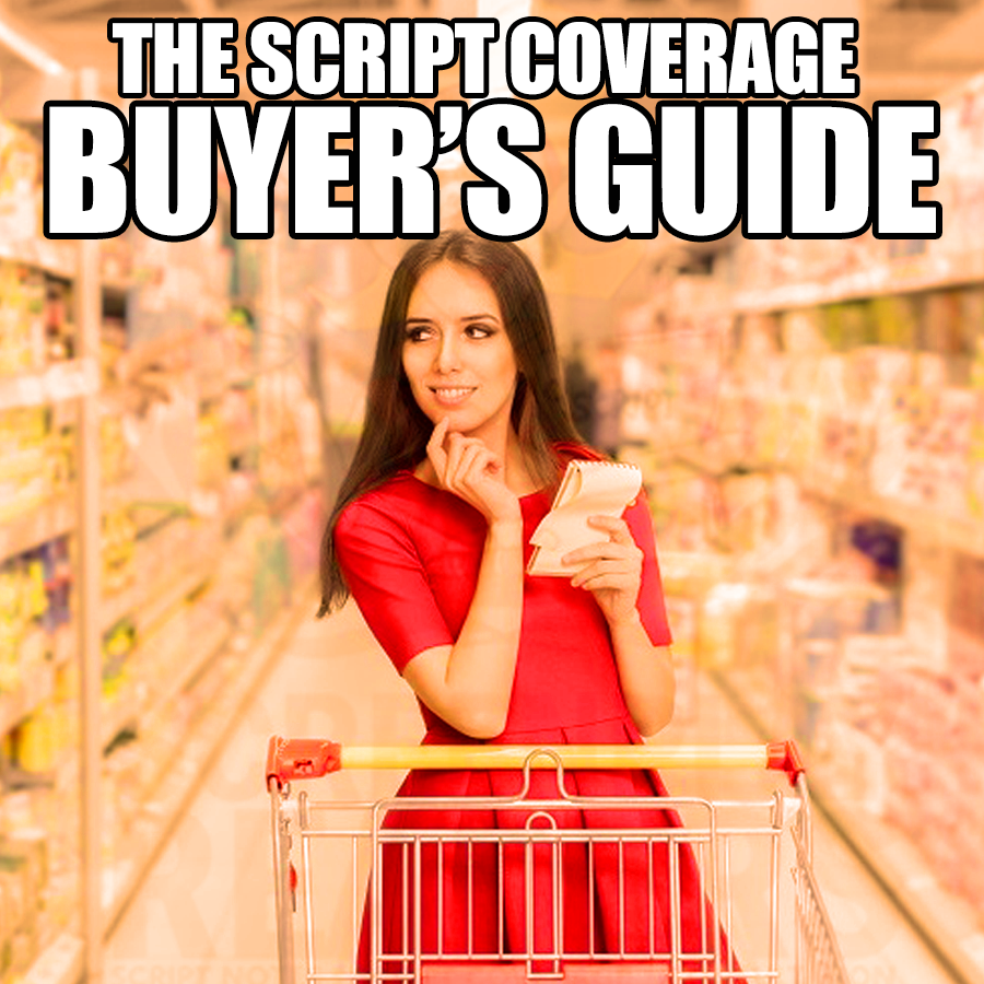 "woman with shopping cart and title reads ""script coverage buyer's guide"""